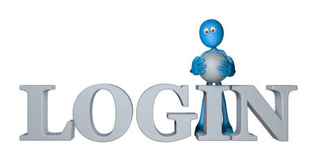blue guy and the word login - 3d illustration illustration