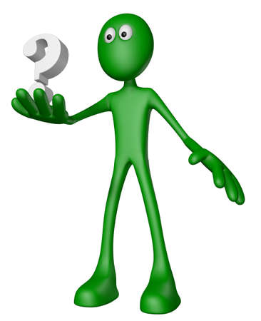 green guy and question mark - 3d illustration Stock Illustration - 14111719