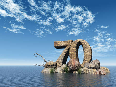 70: the number seventy - 70 -  at the ocean - 3d illustration Stock Photo