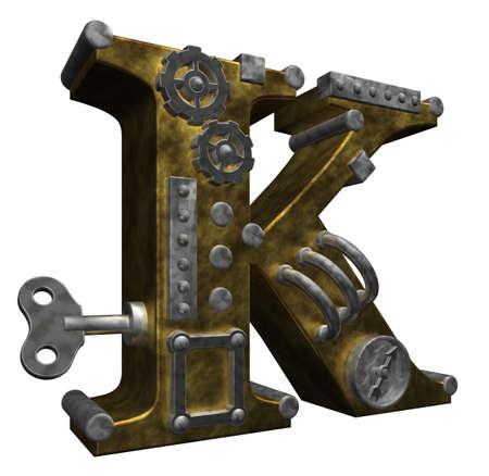 industrial decor: steampunk letter k on white background - 3d illustration Stock Photo