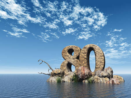 eighty: the number eighty - 80 -  at the ocean - 3d illustration