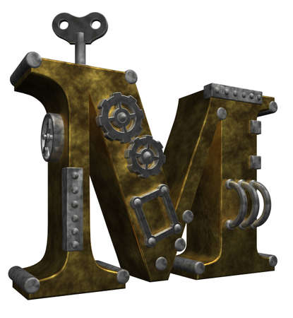 steampunk letter m on white background - 3d illustration illustration