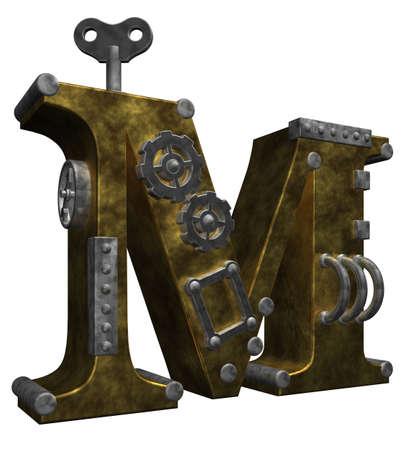 steampunk letter m on white background - 3d illustration illustration