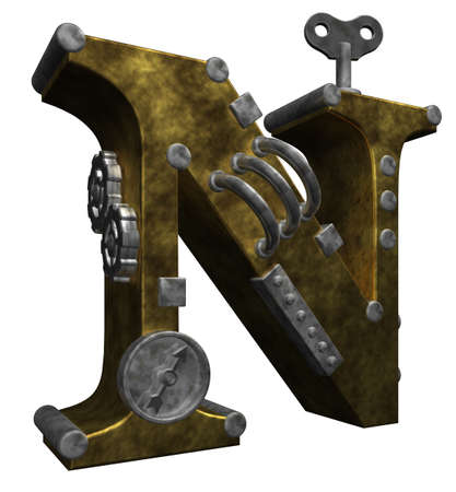 steampunk letter n on white background - 3d illustration Stock Photo