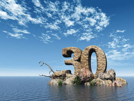 thirty: the number thirty - 30 -  at the ocean - 3d illustration Stock Photo