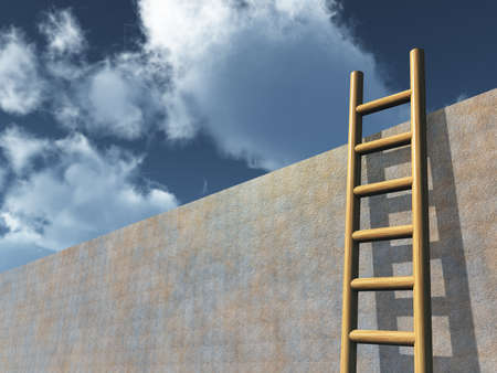 ascends: ladder on wall in front of cloudy sky - 3d illustration Stock Photo