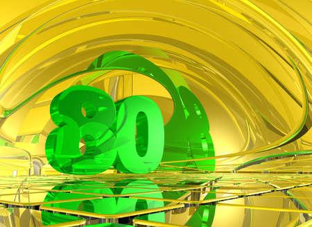 achtzig: Nummer 80 in der abstrakten Spiegel Raum - 3d illustration