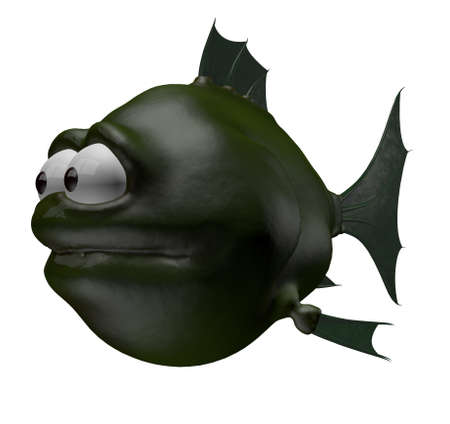 blowfish: strange cartoon fish - 3d illustration Stock Photo