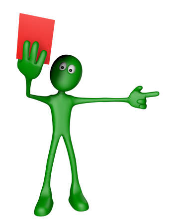 soccer referees hand with red card: green guy shows red card - 3d illustration