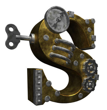 clockwork: steampunk letter s on white background - 3d illustration
