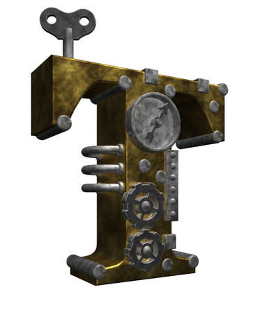 industrial decor: steampunk letter t on white background - 3d illustration Stock Photo