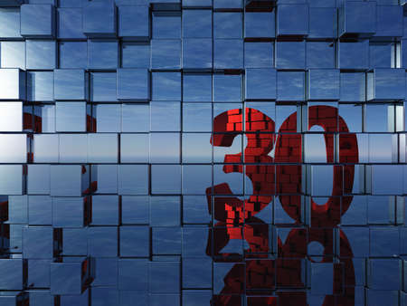 wall of metal cubes reflect number thirty - 3d illustration illustration