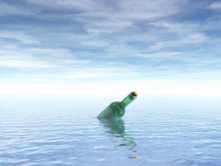 message in a bottle at the ocean - 3d illustration