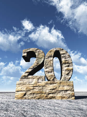 stone number twenty monument under cloudy blue sky - 3d illustration