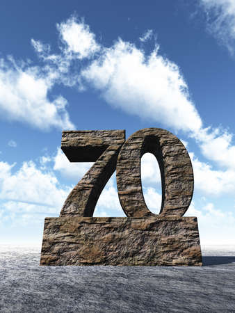 seventy: stone number seventy monument under cloudy blue sky - 3d illustration