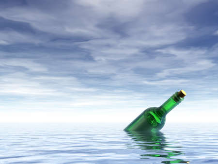 message in a bottle: message in a bottle at the ocean - 3d illustration