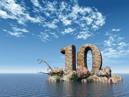 numero diez: el n�mero diez - 10 - en el oc�ano - 3d ilustraci�n Foto de archivo