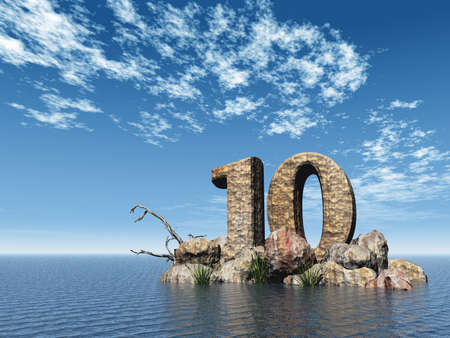 number ten: the number ten - 10 -  at the ocean - 3d illustration