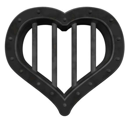 heart prison window on white background - 3d illustration illustration