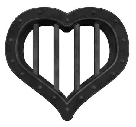 heart prison window on white background - 3d illustration