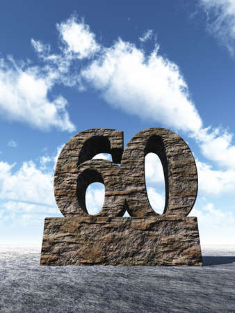 sixty: stone number sixty monument under cloudy blue sky - 3d illustration