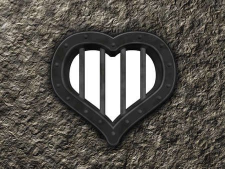 heart prison window on stone background - 3d illustration illustration