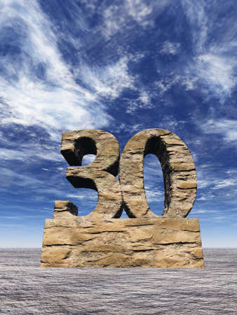 thirty: stone number thirty monument under cloudy blue sky - 3d illustration Stock Photo