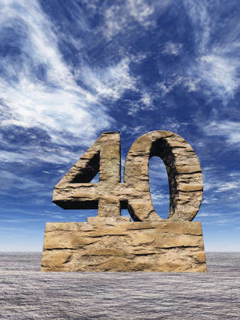 jubilation: stone number forty monument under cloudy blue sky - 3d illustration