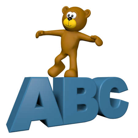 teddy bear on letters abc - 3d illustration illustration