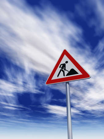 roadsign men at work under cloudy blue sky - 3d illustration illustration