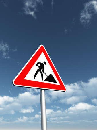 roadsign men at work under cloudy blue sky - 3d illustration