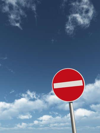 do not enter - roadsign under cloudy blue sky - 3d illustration Zdjęcie Seryjne