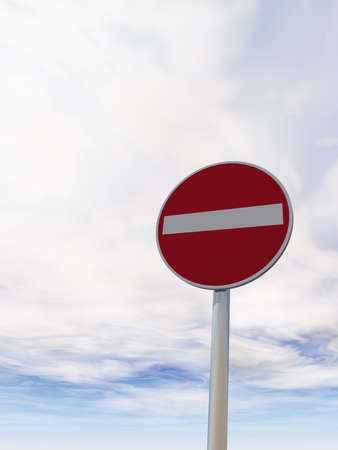 do not enter - roadsign under cloudy blue sky - 3d illustration illustration