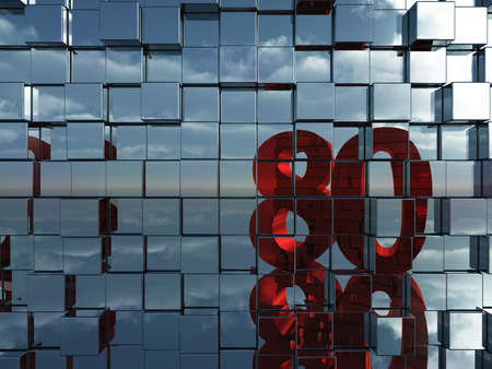 eighty: wall of metal cubes reflect number eighty - 3d illustration