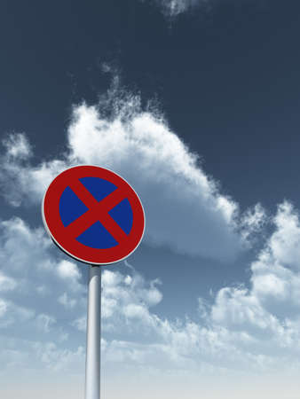 parking is prohibited: roadsign no parking under cloudy blue sky - 3d illustration Stock Photo