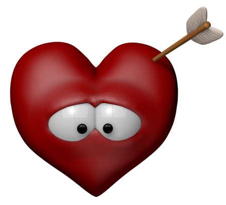 curare teneramente: cuore cartone animato con la freccia - illustrazione 3d Archivio Fotografico