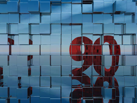 ninety: wall of metal cubes reflect number ninety - 3d illustration
