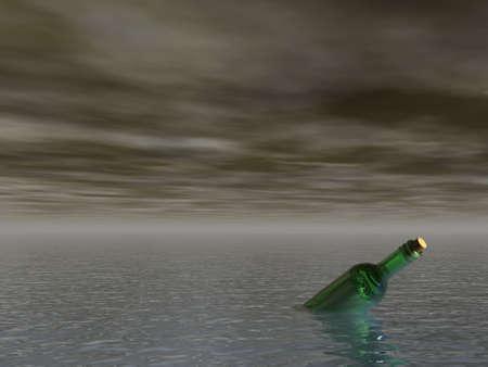 message in a bottle at the ocean - 3d illustration illustration