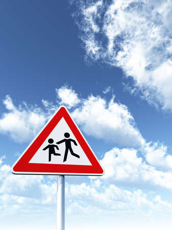 attention childrens roadsign under cloudy blue sky - 3d illustration illustration