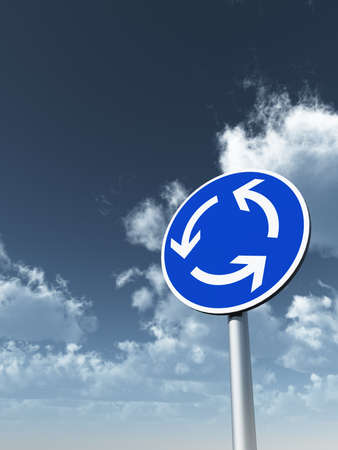 roundabout: roundabout roadsign under cloudy blue sky- 3d illustration Stock Photo