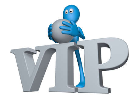 blue guy and the word vip - 3d illustration illustration