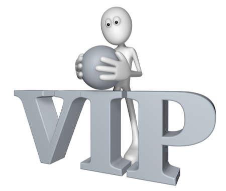 white guy and the word vip - 3d illustration illustration