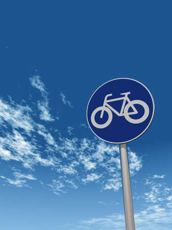 roadsign: roadsign bicycle under cloudy sky - 3d illustration