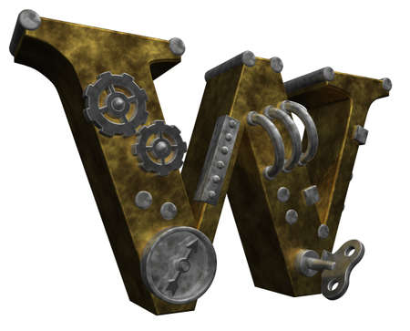 industrial decor: steampunk letter w on white background - 3d illustration