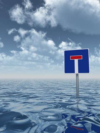 cul de sac: roadsign dead end at water - 3d illustration Stock Photo