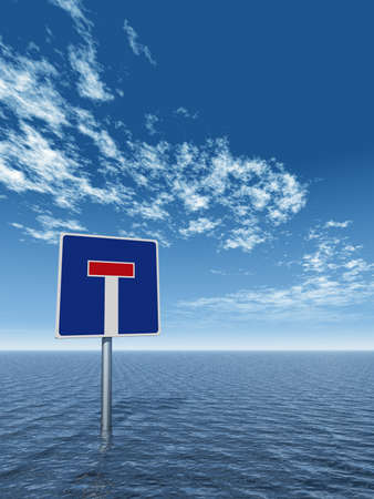 roadsign dead end at water - 3d illustration Stock Photo