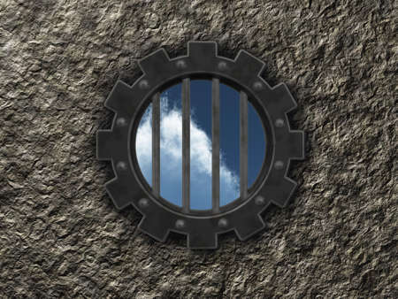 gear wheel prison window - 3d illustration Stock Illustration - 14617990