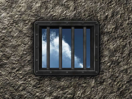 riveted steel prison window - 3d illustration illustration