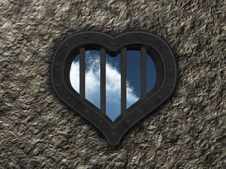 security council: heart prison window on stone background - 3d illustration