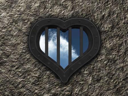 heart prison window on stone background - 3d illustration Stock Illustration - 14780825